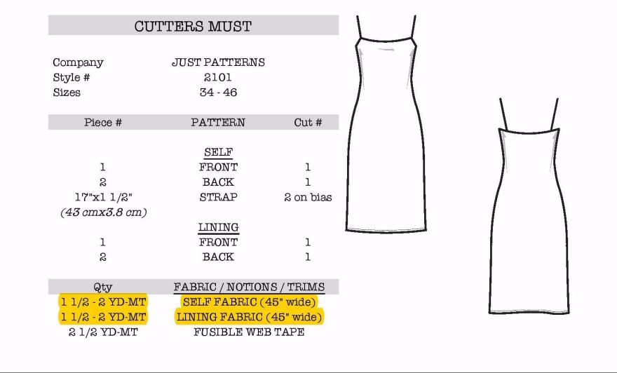 Just Patterns Christy Slip Dress information page 3