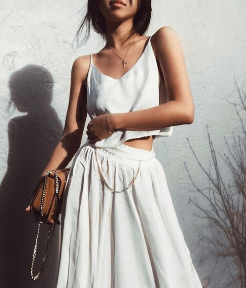 pleated skirt and tank